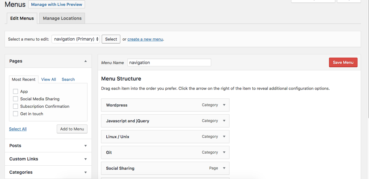Add wordpress menu items programatically